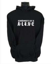 Large Schrodinger's Cat Hoodie in Black