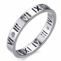 Trozk Fashion Stainless Steel Cz Roman Numeral Silver Ring For Women Girls Silver 9