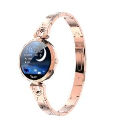 AK15 Fashion Smart Female Bracelet 1.08 Inch Color Lcd Screen IP67 Waterproof Support Heart Rate Monitoring Sleep Monitoring Remote Photography Rose Gold