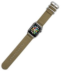 DeBeer Replacement Watch Band - 2-PIECE Nylon - Khaki - Fits 38MM Series 1 & 2 Apple Watch Black Ad