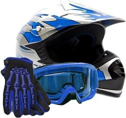 Typhoon Helmets Youth Kids Offroad Gear Combo Helmet Gloves Goggles Dot Motocross Atv Dirt Bike Mx Motorcycle Blue - Medium