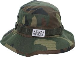 Woodland Camouflage Boonie Hat With Army Universe Pin - Size XS 6 ... 9d95ff608d6