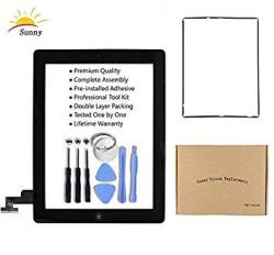 Ipad 2 A1395 A1396 A1397 Screen Replacement Digitizer Glass Assembly Black - Includes Home Button Camera Holder Pre Installed Ad