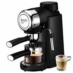 Espresso Machine Ikich 3.5BAR 4CUP Coffee Maker With Spoon Cappuccino Machine With Steam Milk Frother Maker With Carafe Black