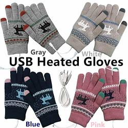 Ymhml USB 2.0 Powered Stripes Heating Pattern Knitting Wool Heated Gloves Full Hand Warmers Non-slip Touch Screen Gloves Laptop Computer 4 Pack Warm Gloves