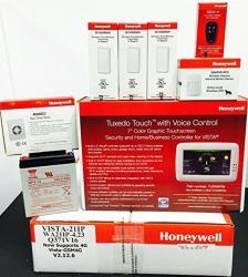 Honeywell Vista 21IP Tuxedo Wifi Keypad 3 5816WMWH 5800PIR-RES 5834-4 Battery And Siren Kit Package