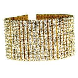 "Mens 14K Gold Plated Bracelet 12 Row Wide Pharaoh Heavy Iced Bling Hip Hop 9.25"" Inch"