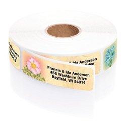 Artistic Labels Antique Floral Designer Assorted Rolled Address Labels With Elegant Plastic Dispenser