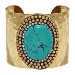 Hw Collection Wide Goldtone Imitation Turquoise Stone Rhinestone Accented Cuff Bracelet Goldtone Imitation Turquoise Stone