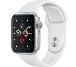 Apple Watch Series 5 44MM Silver - White Sport Band