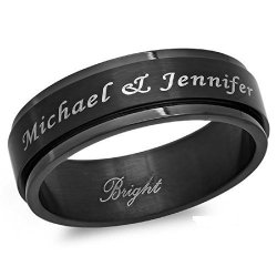 Forevergiftsusa Personalized 8MM Stainless Steel All Black Ip Spinner Ring - Free Engraving 9