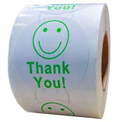 """Top Label 2"""" Round Thank You Smiley Face Happy Stickers 500 Adhesive Labels Per Roll"""