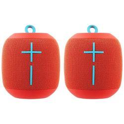 2 Pack Ultimate Ears Wonderboom Bluetooth Wireless Ultra-portable Waterproof Speaker - Fireball Red Renewed