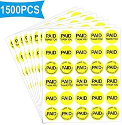 "USA Paid Thank You Stickers Paid ""thank You For Shopping With Us"" Paid Label 3 4"" Round Retail Price Point Labels Fluorescent Yellow - 1500 Labels P"