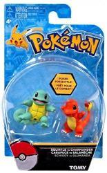 "Pokemon Action Pose Squirtle Vs Charmander 2"" MINI Figure 2-PACK"
