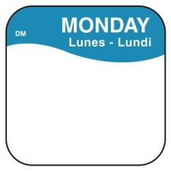"""DayMark Safety Systems Daymark IT1100371 Dissolvemark Day Of The Week Trilingual Dissolvable Label Monday 3 4"""" X 3 4"""" Blue Roll Of 1000"""