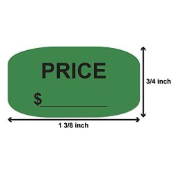 "Officesmartlabels 3 4"" X 1-3 8"" Oval - Price Stickers - Price Labels 1200 Labels green"