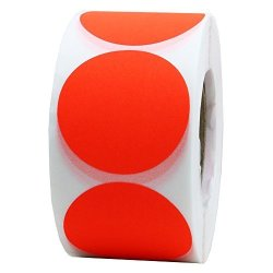 Hybsk 1.5 Inch Fluorescent Red Blank Target Pasters For Shooting 500 Adhesive Target Stickers Per Roll