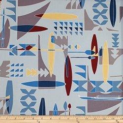 Trans Pacific Textiles LTD 120 Mokauea Street Trans-pacific Textiles Retro Polynesian Voyager Blue Fabric By The Yard