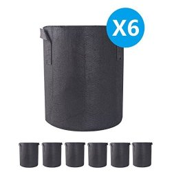A1KINGDOM 6-PACK 7 Gallon Grow Bags Heavy Duty Thickened Non-woven Smart Plant Aeration Fabric Pots Containers With Handles For