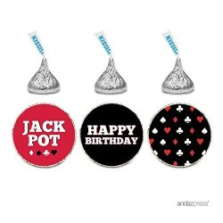 Andaz Press Birthday Chocolate Drop Labels Trio Fits Hershey's Kisses Party Favors Poker Party 216-PACK