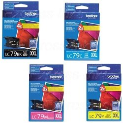 Genuine Brother LC79 LC-79 Super High Yield Color Bk c m y Ink Cartridge 4-PACK LC79BK LC79C LC79M LC79Y For Brother MFCJ5910DW MFCJ6510DW MFCJ6710DW MFCJ6910DW