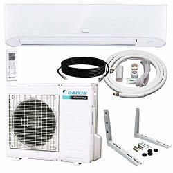 Daikin 12 000 Btu 17 Seer Wall-mounted Ductless Mini-split Inverter Air Conditioner Heat Pump System 15 Ft. Installation Kit & W