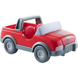 Haba Little Friends Vet Car - Red Plastic Jeep With Momentum Motor Trailer Hitch And Folding Tail Gate
