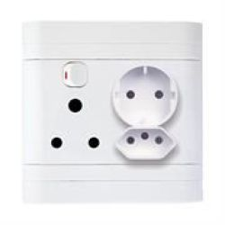 Lesco Flush Monobloc Single Switch Socket With Single Iec And Single Schuko Sockets-single Three-pin Wall Plug With Horizontal Switch One Iec Socket And One