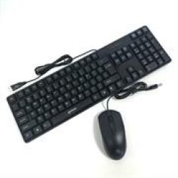 Manhattan Cabled USB Optical Mouse And Keyboard Combo - Colour:black Retail Box 1 Year Limit Warranty