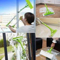 Livoty New Telescopic Foldable Handle Cleaning Glass Sponge Mop Cleaner Window Extendable Blue