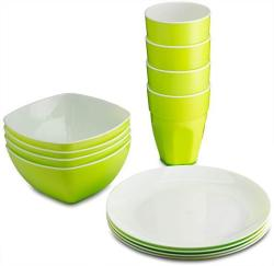 Plasti Home Reusable Plastic Dinnerware Set 12PCS Ideal For Kids. Fancy Hard Plastic Plates Bows & Cups In Green Colors Microwav