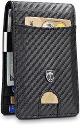 TRAVANDO Money Clip Walletrio Mens Wallet Front Pocket Wallet Slim Wallet Rfid Blocking Credit Card Holder Minimalist MINI Bifold Gifts For Men Carbon