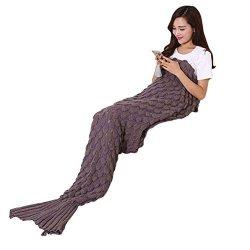 Llq Mermaid Tail Blanket Crochet Mermaid Blanket For Adult Soft All Seasons Sleeping Blankets Classic Pattern