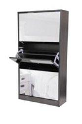 Fine Living Mirror Shoe Cabinet - 3 Tier - Wenge
