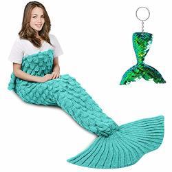 AmyHomie Mermaid Tail Blanket Mermaid Blanket Adult Mermaid Tail Blanket Crotchet Kids Mermaid Tail Blanket For Girls Scalemint