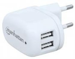 Manhattan Popcharge Home - Europlug C5 USB Wall Charger With Two Ports