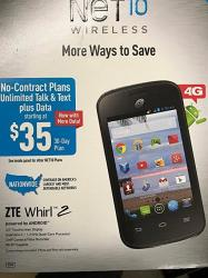 ZTE Whirl 2 Android Cell Phone - No Contract Net 10