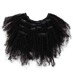 Funtress 4B 4C Afro Kinky Curly Clip Ins Human Hair Extensions Clip-in Full Head 7 Pcs 80G 16 Clips Mongolian Virgin Hair For Bl