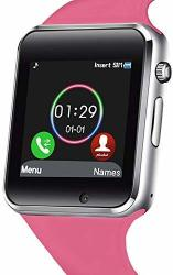 321OU Smart Watch Fitness Tracker Bluetooth Smart Watch Smartwatch Phone Fitness Tracker Sim Sd Card Slot Camera Pedometer Iphone Ios Samsung LG Android Pink