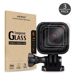 Pack Of 3 Tempered Glass Screen Protector For Gopro Hero 4 Session Hero 5 Session Akwox 0.3MM 9H Hard Scratch-resistant Camera L