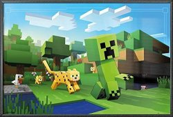 """POSTER STOP ONLINE Minecraft - Framed Gaming Poster Print Ocelot Chasing Creeper Size: 36"""" X 24"""" By"""