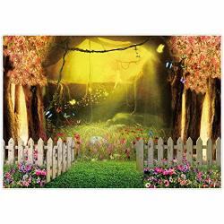 Allenjoy Spring Enchanted Forest Backdrop Floral Fairytale Cherry Blossom Tree Decor Photography Background 7X5FT Grass Butterfl