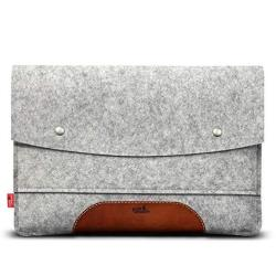 """Pack & Smooch Ipad Pro 12.9"""" Late 2018 Case Sleeve Cover - 100% Wool Felt And Vegetable Tanned Leather - Gray light Brown"""