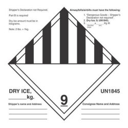 """Decker Tape Products 6"""" X 6"""" Dry Ice UN1845 Labels 500 Per Roll"""