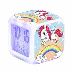 Tailunhanhaius Bonamana Unicorn Alarm Clock Light Nightlight  Accessories-time Temperature Alarm Date For Teenager Adults B   R    Educational  