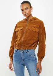 Cotton On Cropped Cord Hoodie Jacket - Syrup Brown