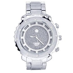 Techno Pave Men's Heavy Hip Hop Iced Out Fashion Silver Plated Metal Band Watches Wm 5980 S
