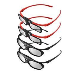 Boblov 3D Glasses 4 Pieces Family Pack Active Shutter Glasses Dlp-link Compatible With All Dlp Porjectors For Parents And Kids