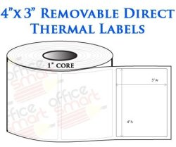 OfficeSmartLabels 4X3 Direct Thermal Removable Labels For Zebra GC420D  GC420T GK420D GK420T GX420D GX420T LP2844 LP2442 TLP2844 | R2475 00 |  Office